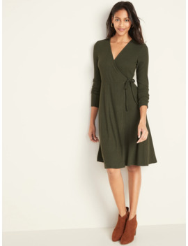 Wrap Front Rib Knit Midi Dress For Women by Old Navy