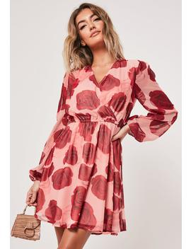 Pink Rose Print Wrap Mini Dress by Missguided
