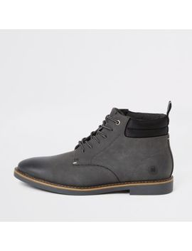 Grey Lace Up Chukka Boots by River Island