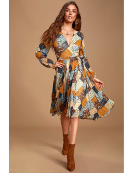 Such Kindness Blue Multi Print Pleated Wrap Dress by Moon River