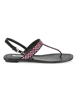 Crystal Embellished Leather Thong Sandals by Prada