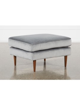 Fairfax Steel Grey Velvet Ottoman by Living Spaces
