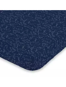 No Jo® Cosmic Constellations Mini Fitted Crib Sheet In Navy by No Jo