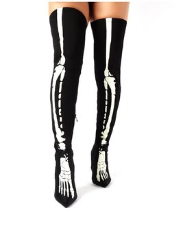 Spooked Black Glow In The Dark Skeleton Over The Knee Boots by Public Desire