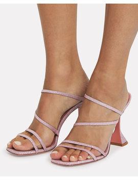 Naima Glitter Leather Sandals Naima Glitter Leather Sandals by Amina Muaddi Amina Muaddi