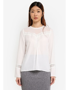 Lace Trim Box Pleat Top by Warehouse