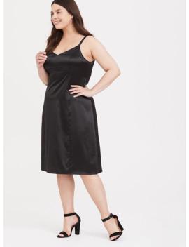 Black Satin A Line Slip Dress by Torrid
