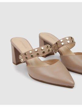 Indra Mid Heels Beige Leather by Jo Mercer