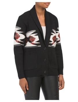 Wool Faisal Oversize Sequin Cardigan by Tj Maxx