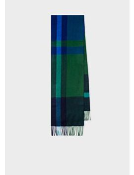 Men's Navy And Green Check Cashmere Scarf by Paul Smith