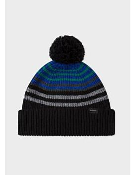 Men's Black Mixed Stripe Wool Ribbed Beanie Hat With Pompom by Paul Smith