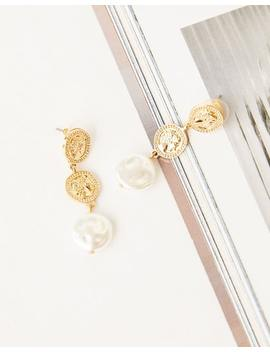 Drop Coin Pearl Earrings by Glassons