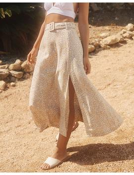 Floral Belted Midi Skirt by Glassons
