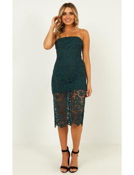 Walk The Other Way Dress In Emerald Lace by Showpo Fashion