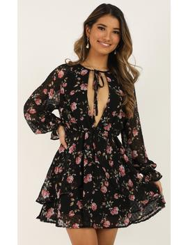 Spring Blossom Dress In Black Floral by Showpo Fashion