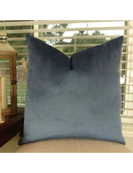 Thomas Collection Solid Dark Blue Luxury Throw Pillow, Handmade In Usa, 15003 D by Generic
