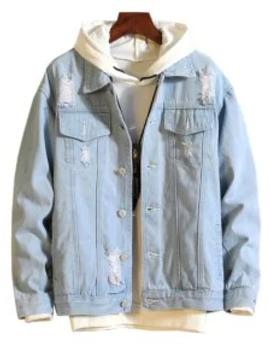 Hot Sale Casual Destroy Wash Ripped Denim Jacket   Light Blue M by Zaful