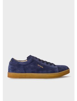 Men's Navy Suede 'huxley' Trainers With Natural Rubber Sole by Paul Smith