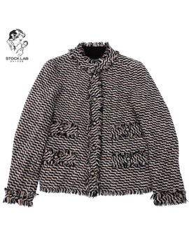 Chanel Chanel 04 P Stand Collar Mixture Tweed Jacket Fringe Here Mark Button 40 Multi Lady's by Rakuten Global Market