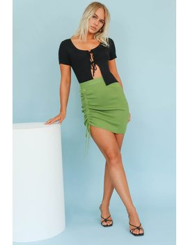 Entire Issue Ruched Knit Mini Skirt // Olive by Vergegirl