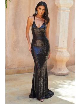 Black Sequin Cross Back Fishtail Maxi Dress by Club L London