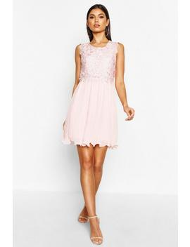 Boutique Corded Lace Pleated Skater Dress by Boohoo