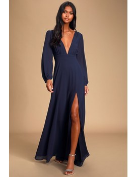 All My Life Navy Blue Long Sleeve Maxi Dress by Lulus