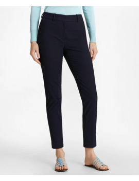 Stretch Cotton Jacquard Ankle Pants by Brooks Brothers