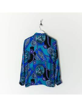 Vintage Abstract Shirt Blauw Medium by Waar Vintage Kleding