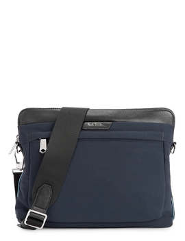 Navy Leather Trimmed Cross Body Bag by Paul Smith