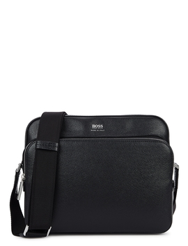 Signature Black Leather Cross Body Bag by Boss