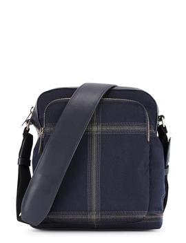 Navy Check Cross Body Bag by Paul Smith