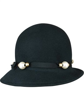 Black Felt Cloche With Pete And Pearl Trim by Morgan & Taylor