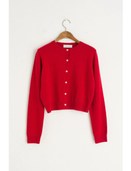 Jane Cropped Cardigan, Red by Olive
