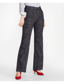 Plaid Tweed Wide Leg Pants by Brooks Brothers