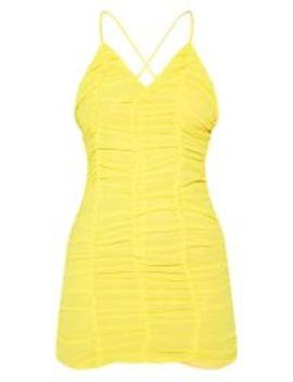 Yellow Chiffon Ruched Bodycon Dress by Prettylittlething