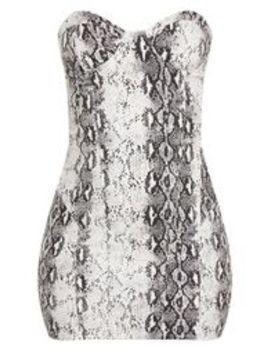 Snake Print Bandeau Denim Dress by Prettylittlething