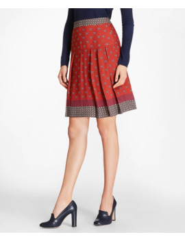 Foulard Silk Georgette Pleated Skirt by Brooks Brothers