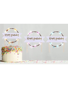 Up To Twelve Happy Birthday Led Cake Toppers by Groupon