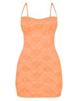 Orange Lace Cup Detail Strappy Bodycon Dress by Prettylittlething
