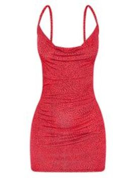 Red Printed Slinky Cowl Neck Bodycon Dress by Prettylittlething