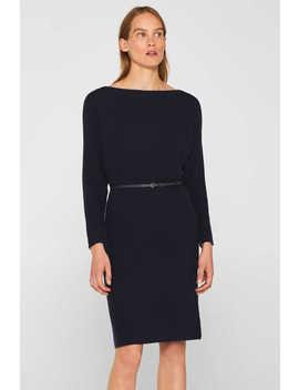 Strick Kleid Mit Gürtel Und Ripp Struktur by Esprit