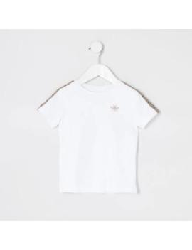 Mini Boys White Tape Short Sleeve T Shirt by River Island