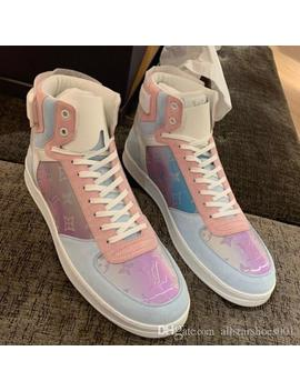 Pink Blue Graduate Laser Pvc High Top Sneakers Mens Luxury Designer Shoes Fashion First Qulity Monogram Rivoli Sneaker Prism Rainbow Flats by D Hgate.Com