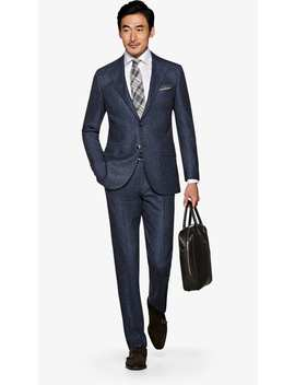 Lazio Mid Blue Bird's Eye Suit by Suitsupply