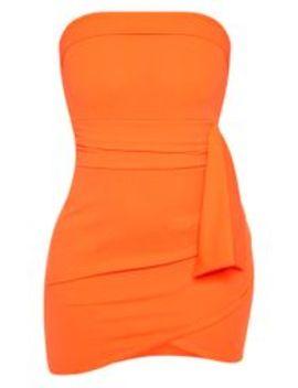 Orange Tie Waist Detail Bandeau Bodycon Dress by Prettylittlething