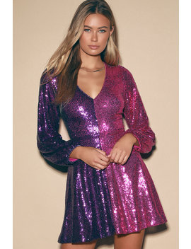Got Your Attention Purple And Magenta Sequin Skater Dress by Lulus