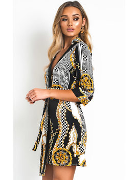Veronica Pattern Tie Wrap Dress In Multi by Ikrush