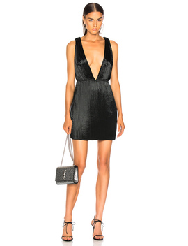Velvet Plunging Mini Dress by Saint Laurent