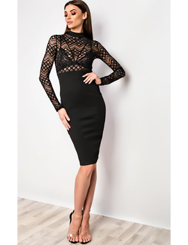 Nelli Bodycon Midi Dress In Black by Ikrush